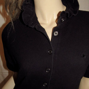 Burberry Tops - BURBERRY BLACK raffled collar top / SHIRT SZ M / L